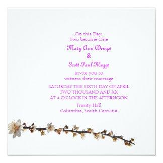 "Purple leaf plum spring  Wedding Invitation 5.25"" Square Invitation Card"