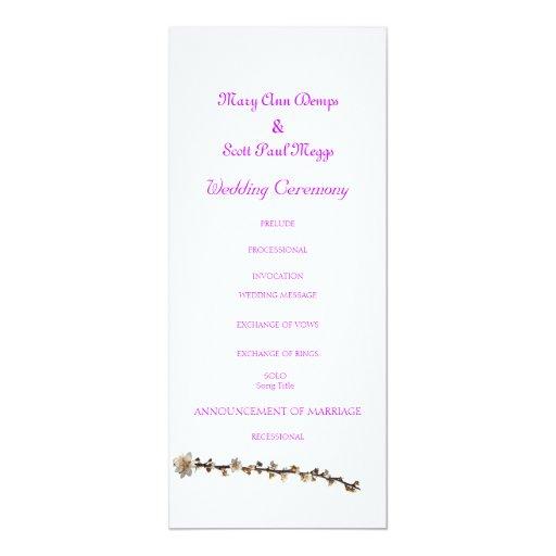 Purple leaf plum spring wedding program 4x9.25 paper invitation card
