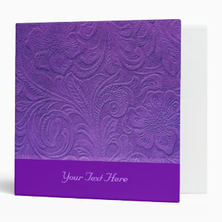 Purple Leather -Embossed Floral Design 3 Ring Binder