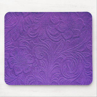 Purple Leather -Embossed Floral Design Mouse Pad