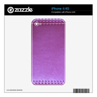 Purple Leather finish Template add TEXT n IMAGE 99 Skin For iPhone 4