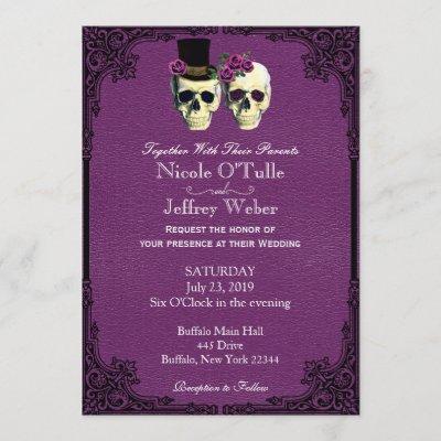 Purple Leather Goth Skull Wedding Invitation