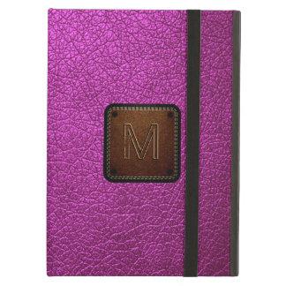 Purple leather look brown tag #3 iPad air case