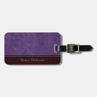 Purple Leather Look Tag For Luggage