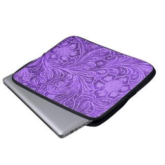 Purple Leather Texture Embossed Flowers Design Computer Sleeve