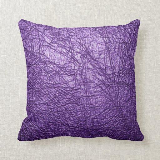 purple leather texture pillow
