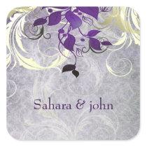purple leaves envelope seal