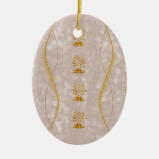 Purple Leaves & Gold Flowers Ceramic Ornament