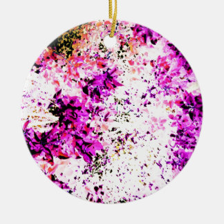 Purple Leaves Double-Sided Ceramic Round Christmas Ornament