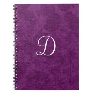 Purple Leaves Pattern Monogram Gift Item Spiral Note Books