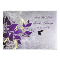 purple leaves save the date announcement