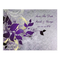 purple leaves save the date postcard