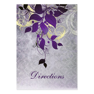 purple leaves winter wedding directions cards business card