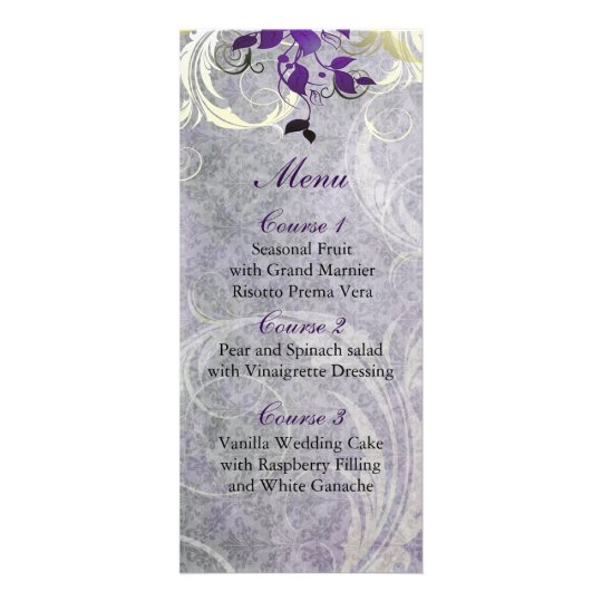 purple leaves winter wedding menu