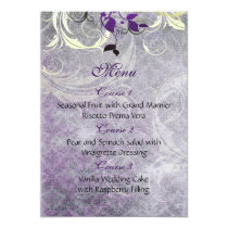 purple leaves winter wedding menu card