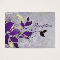 purple leaves winter wedding reception cards