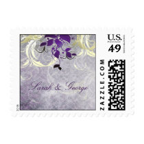 purple leaves winter wedding stamps