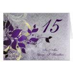 purple leaves winter wedding table seating card