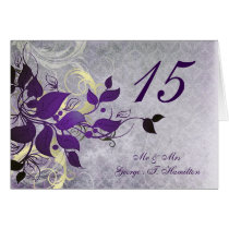 purple leaves winter wedding table seating card