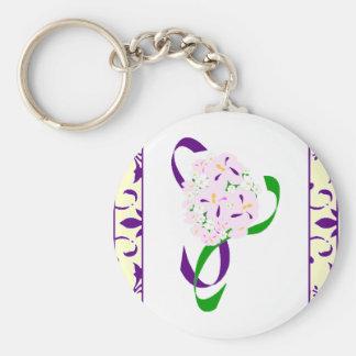 Purple Lemon Damask Wedding Favor Keychain