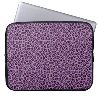 Purple leo print laptop sleeve