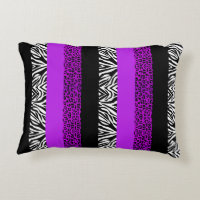 Purple Leopard and Zebra Animal Print Decorative Pillow