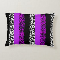 Purple Leopard and Zebra Animal Print Decorative Pillow