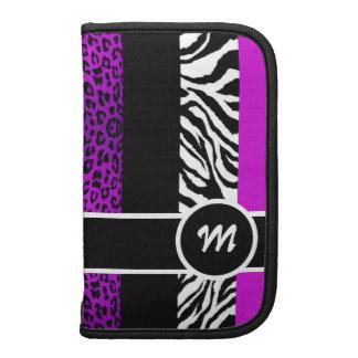 Purple Leopard and Zebra Animal Print Monogram Folio Planner