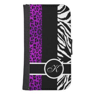 Purple Leopard and Zebra Animal Print Monogram Samsung S4 Wallet Case
