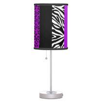 Purple Leopard and Zebra Custom Animal Print Desk Lamp
