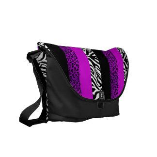 Purple Leopard and Zebra Custom Animal Print Messenger Bag