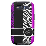 Purple Leopard and Zebra Monogram Animal Print Galaxy S3 Cover