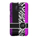 Purple Leopard and Zebra Monogram Animal Print Galaxy S2 Cases