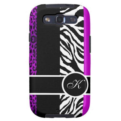 Purple Leopard and Zebra Monogram Animal Print Samsung Galaxy S3 Cover