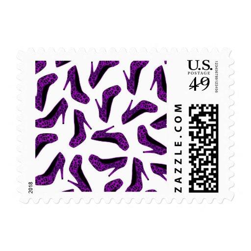 Purple Leopard Animal Print High Heel Shoes Print Postage Stamp