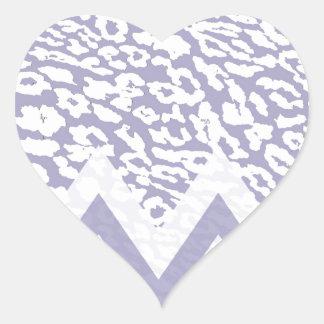Purple leopard chevron heart sticker