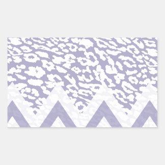 Purple leopard chevron rectangular sticker