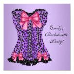 Purple Leopard Corset Bachelorette Party Custom Announcements