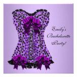 Purple Leopard Corset Purple Bachelorette Party Personalized Announcement
