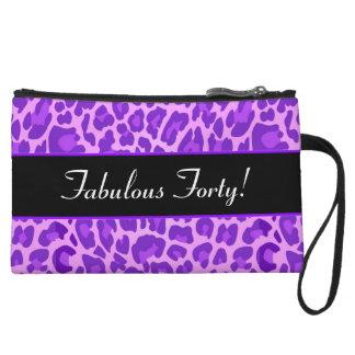 Purple Leopard Fabulous 40 Birthday B01 Wristlet