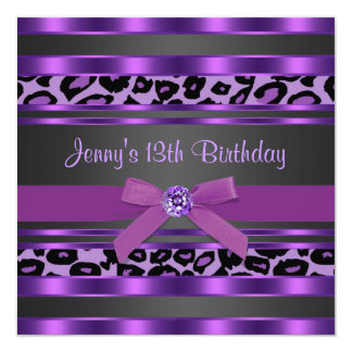 Purple Leopard Girls 13th Birthday Party 5.25x5.25 Square Paper Invitation Card