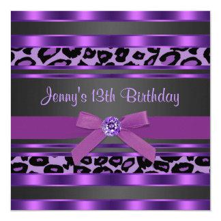 Purple Leopard Girls 13th Birthday Party Invitation