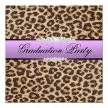 Purple Leopard Graduation Party 5.25x5.25 Square Paper Invitation Card