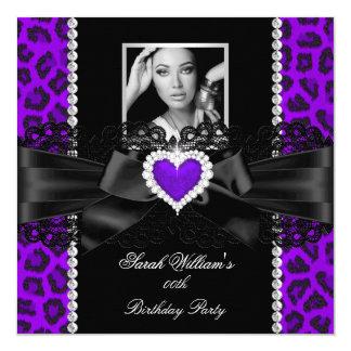 Purple Leopard Lace Heart Photo Birthday Party 2 5.25x5.25 Square Paper Invitation Card