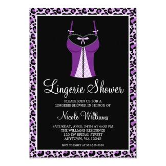 Purple Leopard Lingerie Bridal Shower Card