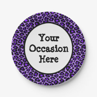 Purple Leopard Party Personalize Paper Plate