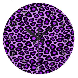 Purple Leopard Pattern Large Clock