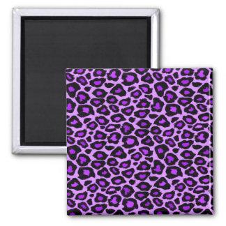 Purple Leopard Pattern 2 Inch Square Magnet