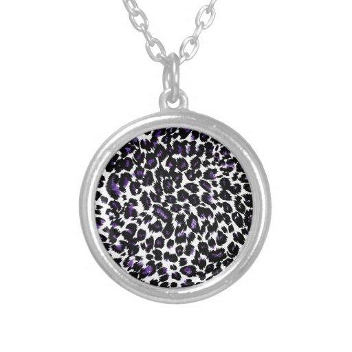 Purple Leopard Pattern Round Pendant Necklace