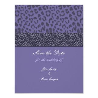 Purple Leopard Pattern Save the Date Card